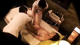 Voyeur,Threesome,Oiled,Massage,Fingering,Asian