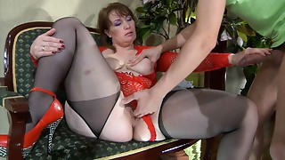 Fingering,Fucking,Mature,Redhead,Stockings