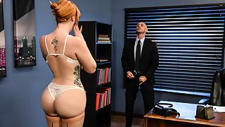 Big Ass,Big Boobs,Lingerie,Redhead,Secretary,Stockings
