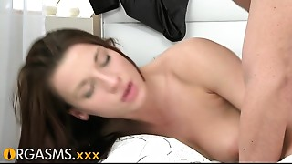 Blowjob,Brunette,Couple,Kissing,Natural,Orgasm,Petite,Shaved,Softcore