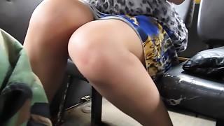 Bus,Flashing,Stockings,Upskirt,Voyeur