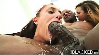 Ass licking,Big Cock,Black and Ebony,Blowjob,Cumshot,Facial,Gagging,Interracial,Threesome
