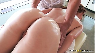 Big Ass,Big Boobs,Lingerie,Massage,Oiled,Redhead,Shaved