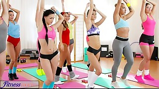 Babe,Gym,Lesbian,Panties,Threesome,Yoga
