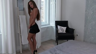 Babe,Beautiful,Brunette,Dress,Masturbation,Pornstar,Sex Toys,Shaved,Solo,Teen