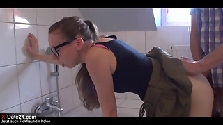 Amateur,Anal,Bathroom,Brunette,Doggystyle,Glasses,Fucking,Sex Toys,Teen