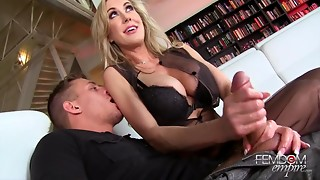Big Boobs,Blonde,Couple,Cumshot,Handjob,High Heels,Lingerie,MILF,Pornstar