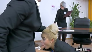 Big Cock,Blonde,Cumshot,Fucking,High Heels,Office,Shaved