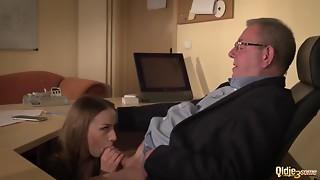 Blowjob,Caught,Cumshot,Face Sitting,Facial,Office,Secretary,Teen,Threesome