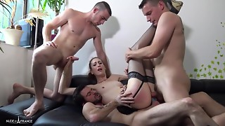 Anal,Brunette,Cumshot,Double Penetration,Gangbang,Group Sex,Lingerie,Small Tits