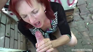 Blowjob,Cumshot,Czech,Grannies,Mature,Outdoor,POV,Public Nudity,Redhead,Shaved